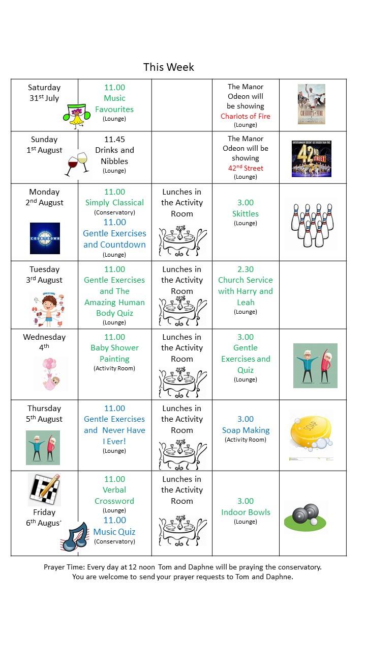 schedule 31st July